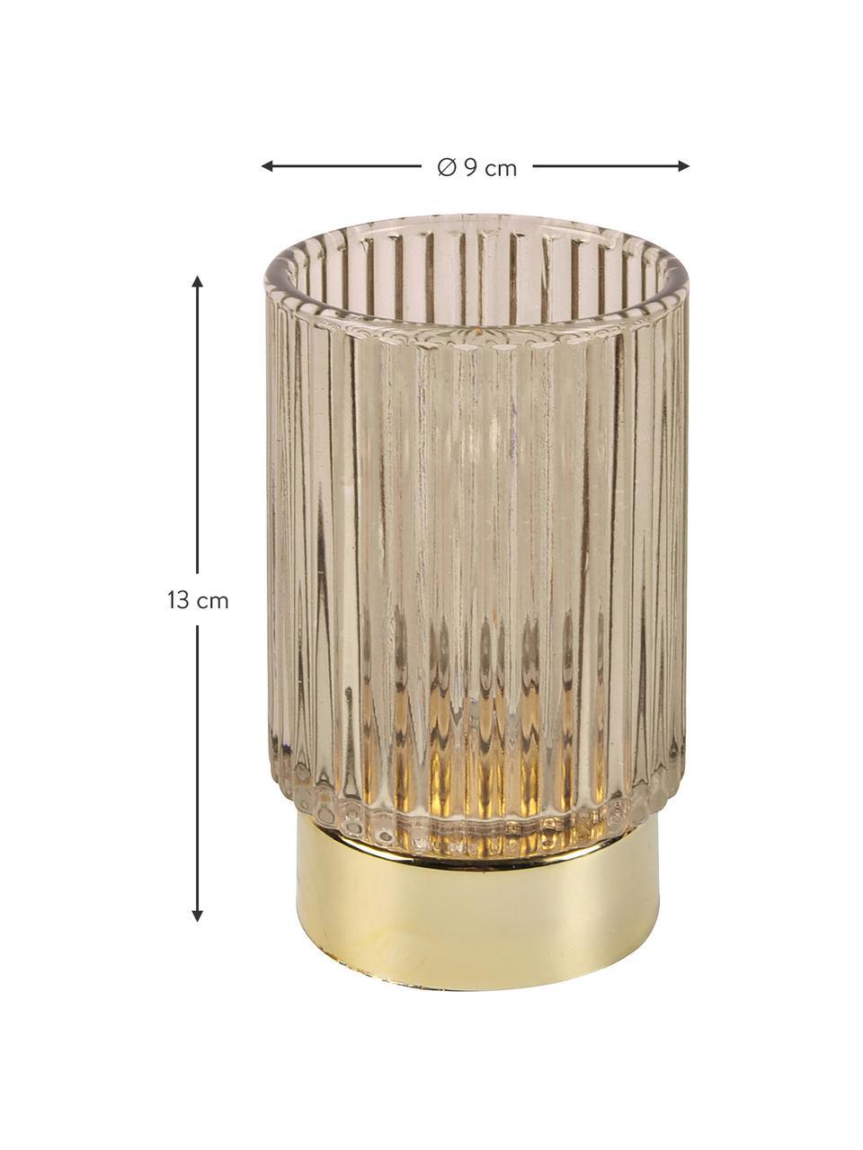 LED Teelichthalter Ribbed, Glas, Beige, Ø 9 x H 13 cm