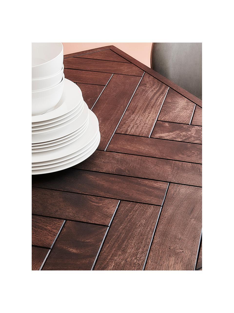 Table bois massif style art déco Luca, Plateau: bois de manguier, foncé laqué Structure: couleur dorée