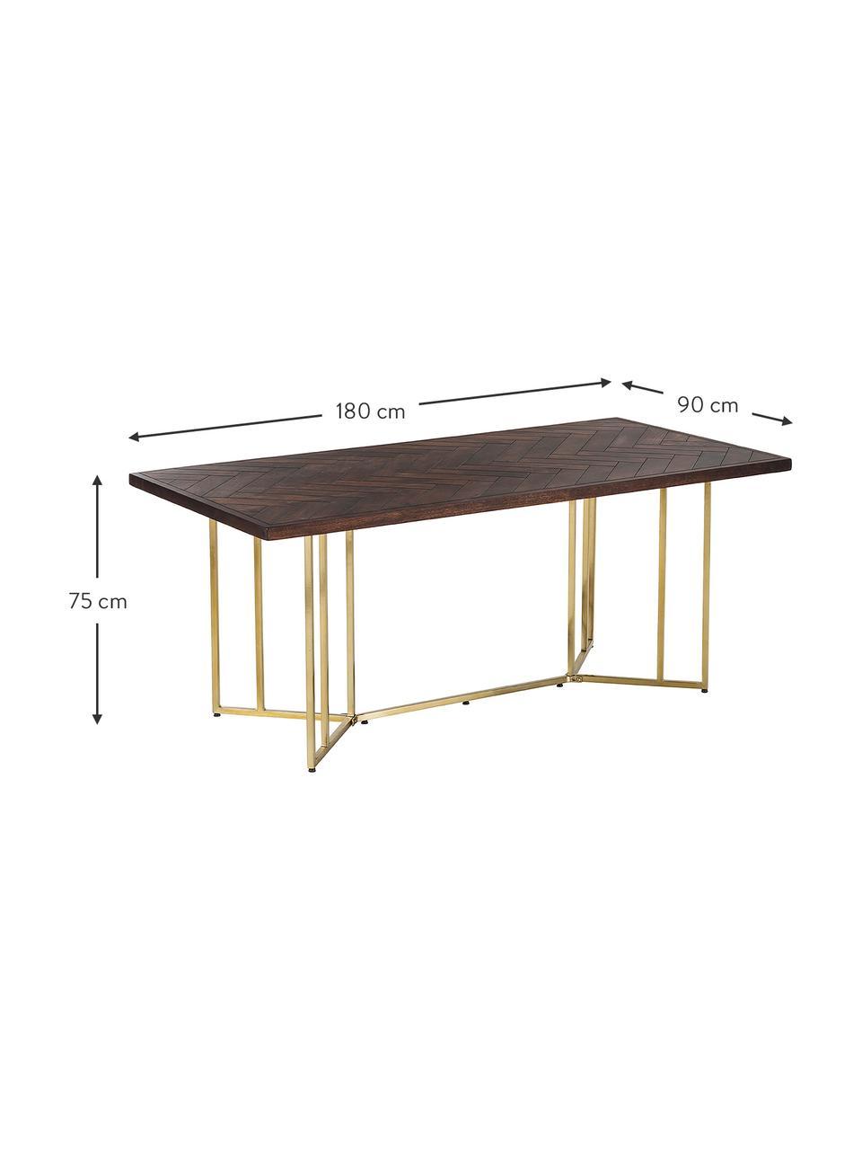 Stół do jadalni z litego drewna w jodełkę Luca, Blat: lite drewno mangowe, laki, Stelaż: metal powlekany, Blat: drewno mangowe, lakierowane na ciemno Stelaż: odcienie złotego, błyszczący, S 180 x G 90 cm