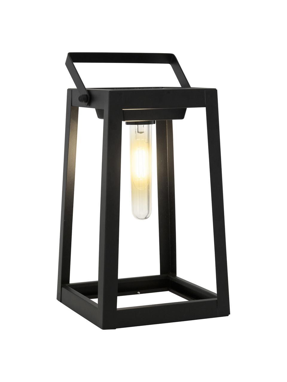 Lampada da tavolo solare da esterno Tippy, Struttura: metallo, Paralume: materiale sintetico, Nero, Larg. 15 x Alt. 31 cm