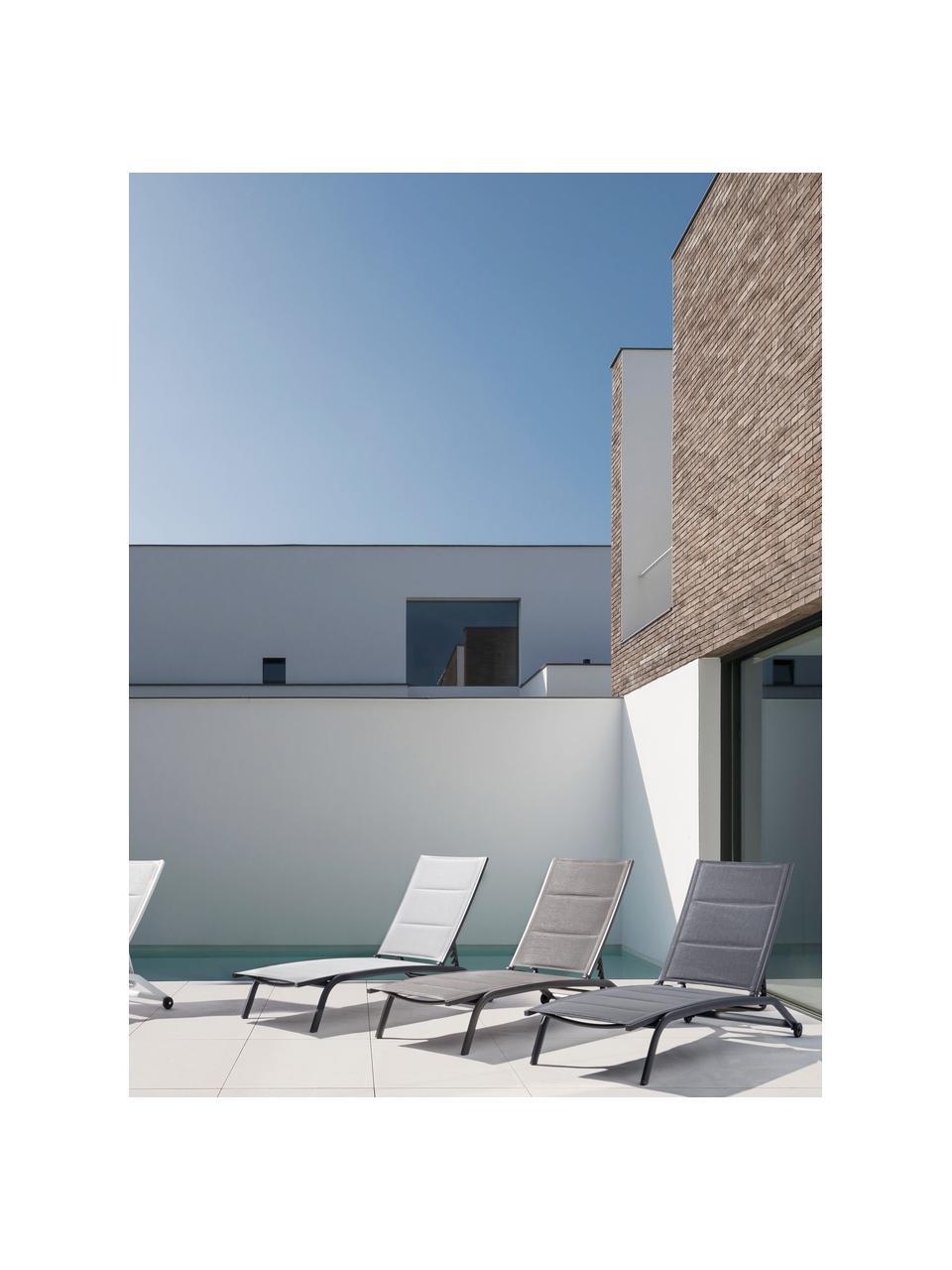 Gartenliege Cleo in Grau, Gestell: Aluminium, pulverbeschich, Rollen: Kunststoff, Anthrazit, Schwarz, 61 x 192 cm
