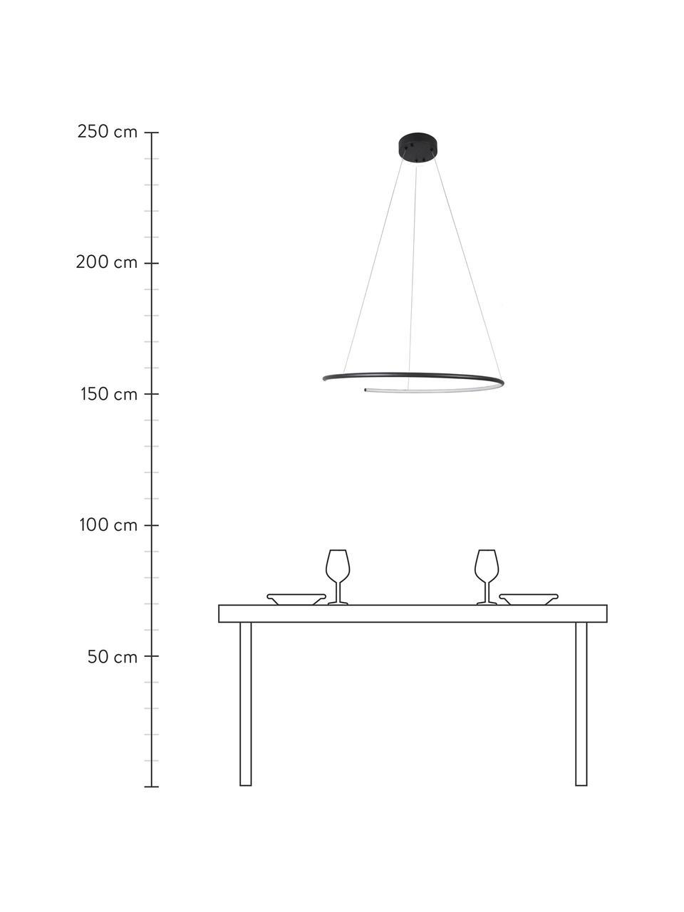 Große LED-Pendelleuchte Breda in Schwarz, Lampenschirm: Aluminium, Baldachin: Aluminium, Schwarz, Ø 70 x H 200 cm