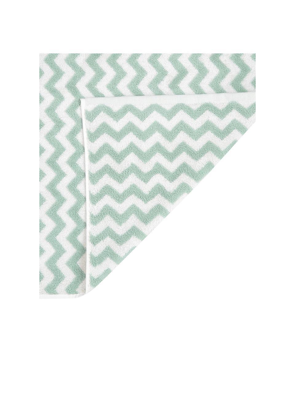 Lot de serviettes de bain imprimé zigzag Liv, 3élém., Vert menthe, blanc crème