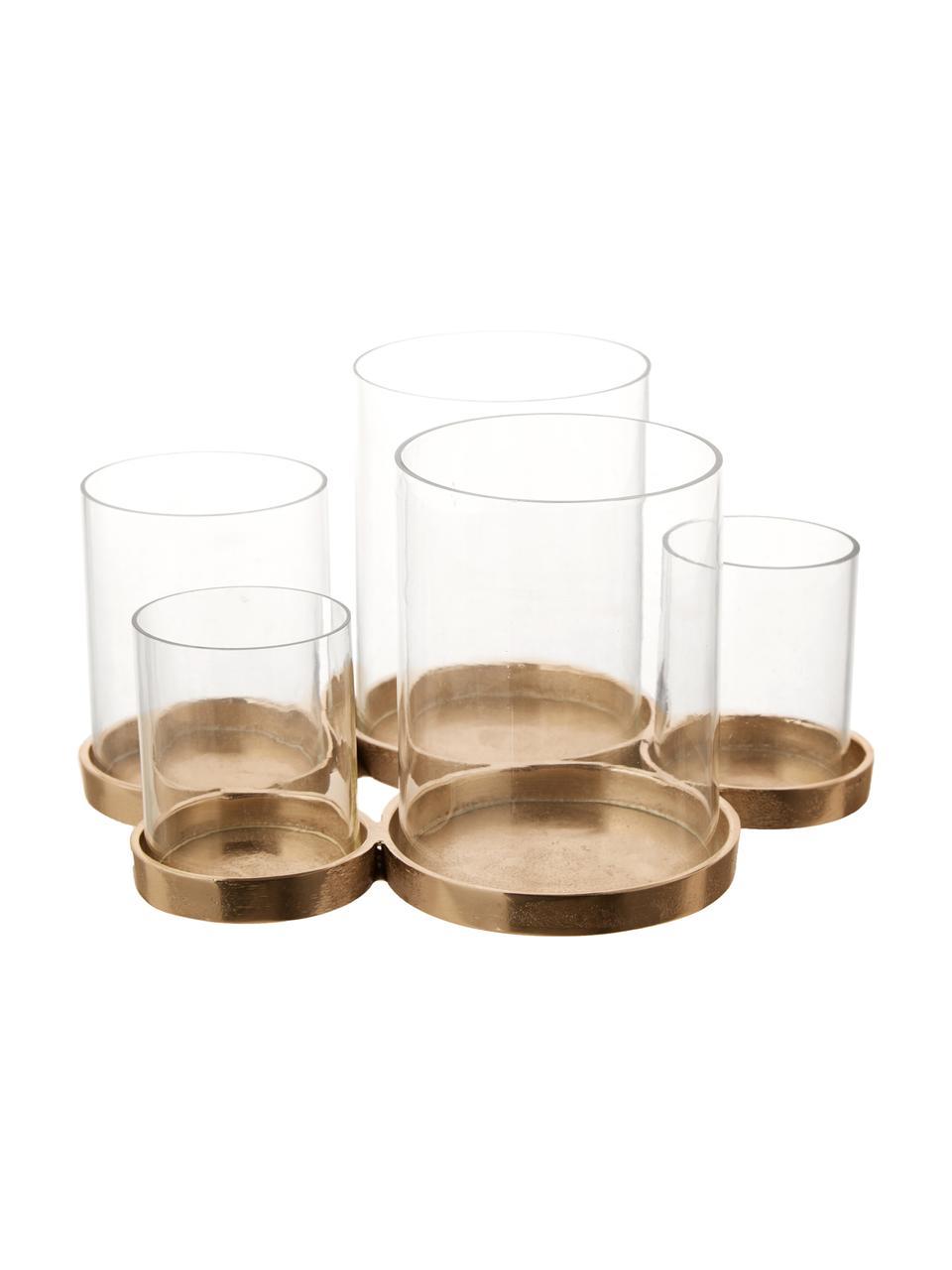 Windlicht Myra, Sockel: Aluminium, beschichtet, Windlicht: Glas, Champagnerfarben, 26 x 14 cm