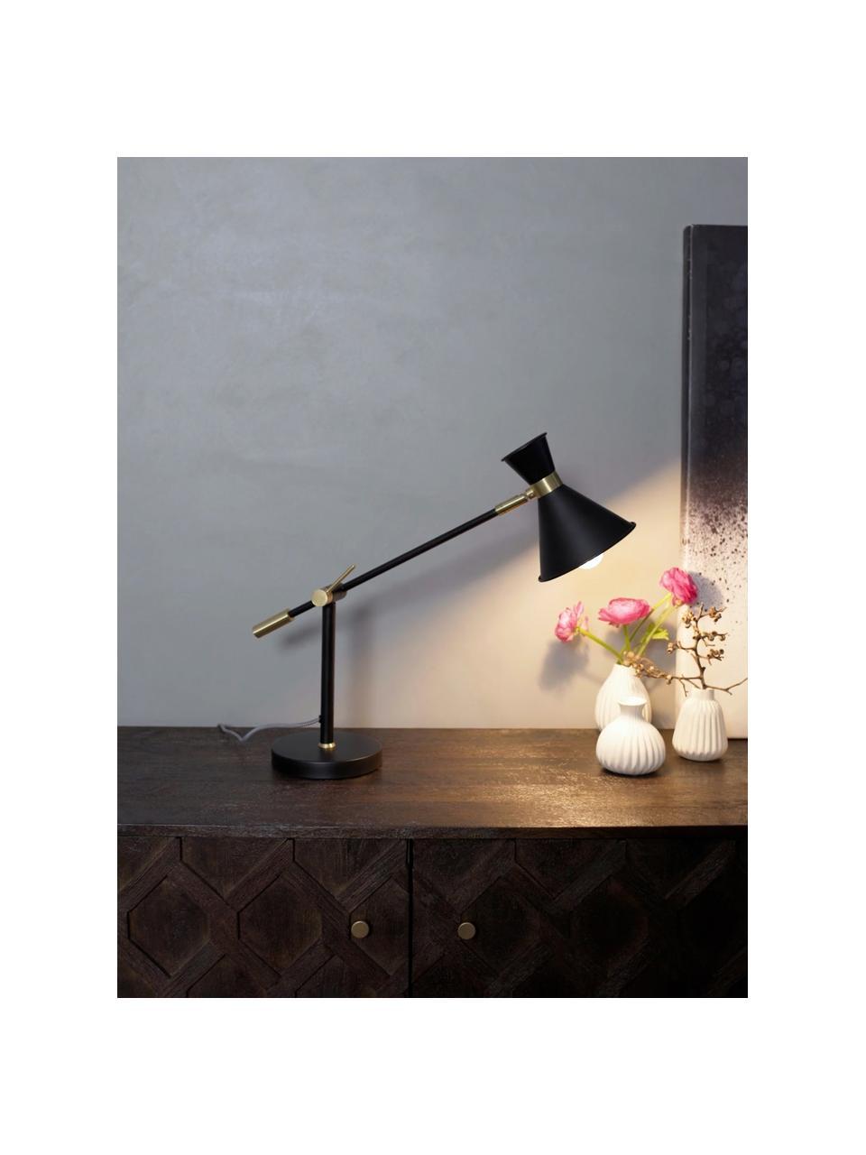 Große Schreibtischlampe Audrey mit Gold-Dekor, Lampenschirm: Metall, pulverbeschichtet, Dekor: Metall, vermessingt, Lampenfuß: Metall, pulverbeschichtet, Mattschwarz, Ø 15 x H 68 cm