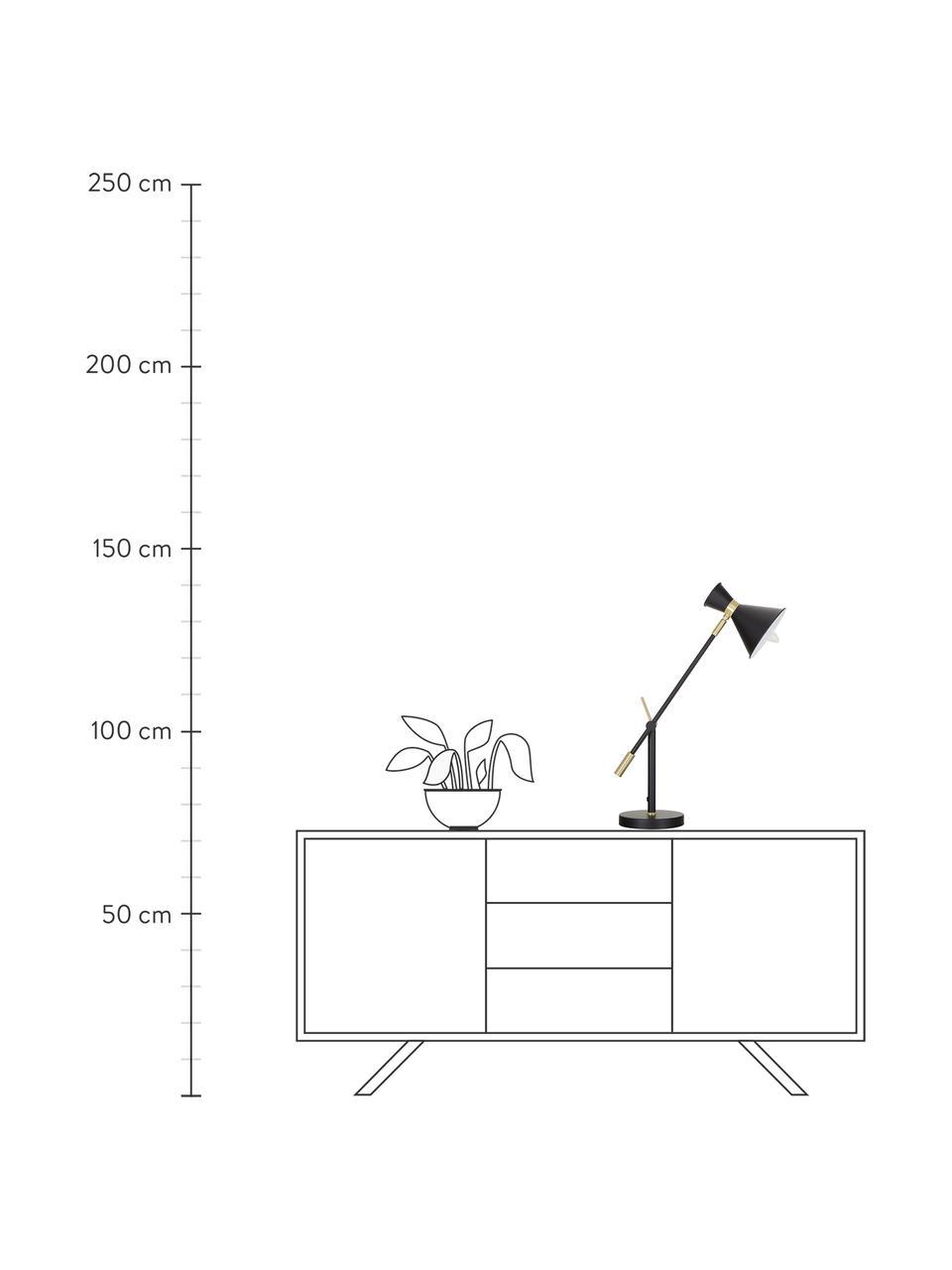 Lampada da tavolo stile nordico Audrey, Paralume: Metallo verniciato a polv, Base della lampada: Metallo verniciato a polv, Nero opaco, Ø 15 x Alt. 68 cm