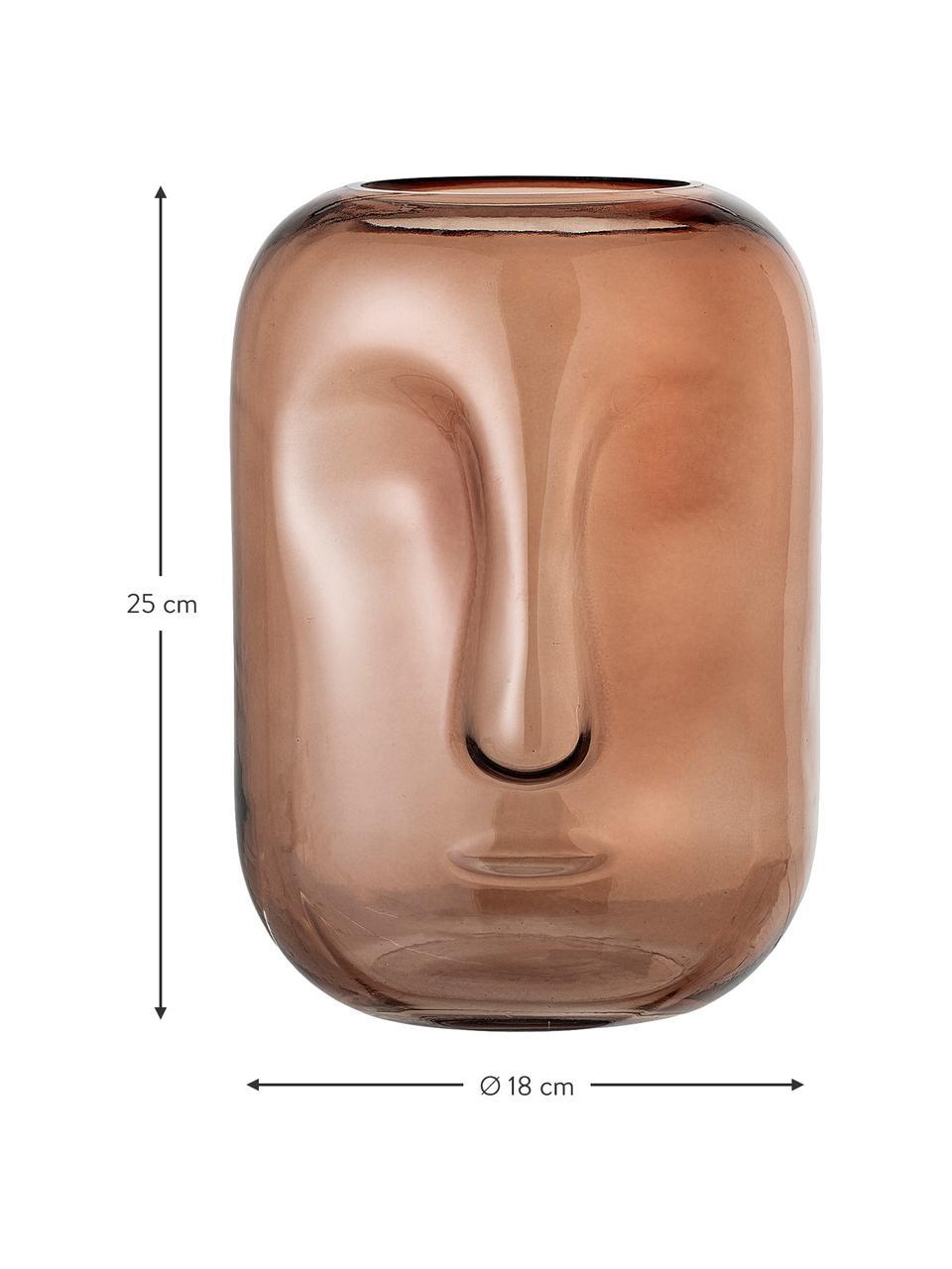 Wazon ze szkła Face, Szkło, Brązowy, transparentny, Ø 18 x W 25 cm