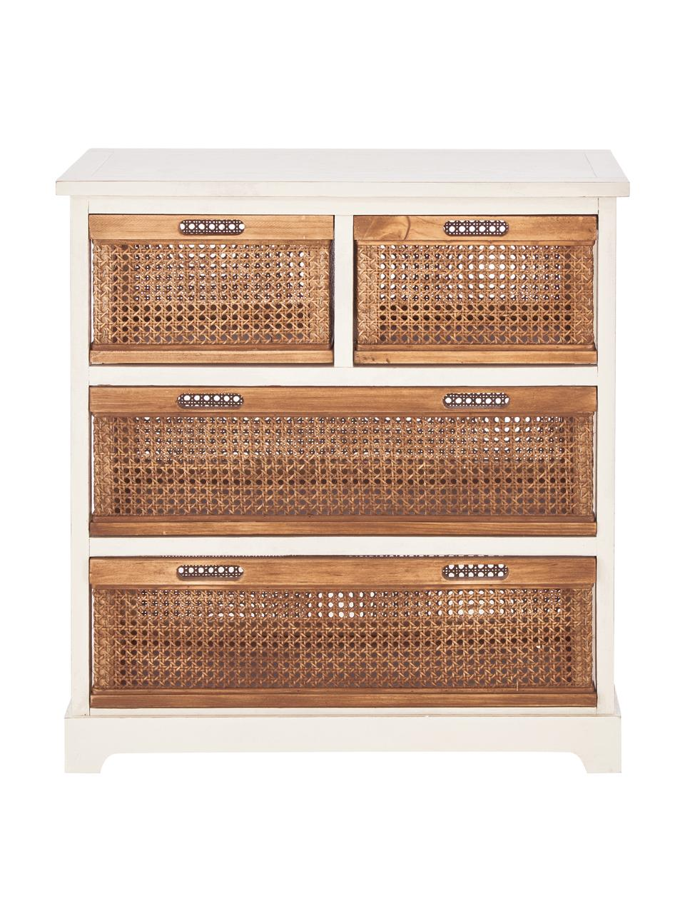 Cassettiera in legno e rattan Bantu, Bianco crema, marrone, Larg. 74 x Alt. 77 cm