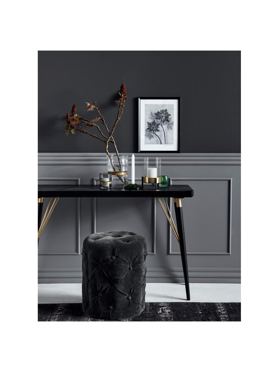 Konsole Jana mit goldfarbenen Elementen, Ablagefläche: Mitteldichte Holzfaserpla, Beine: Metall, lackiert, Schwarz, Goldfarben, B 120 x T 40 cm