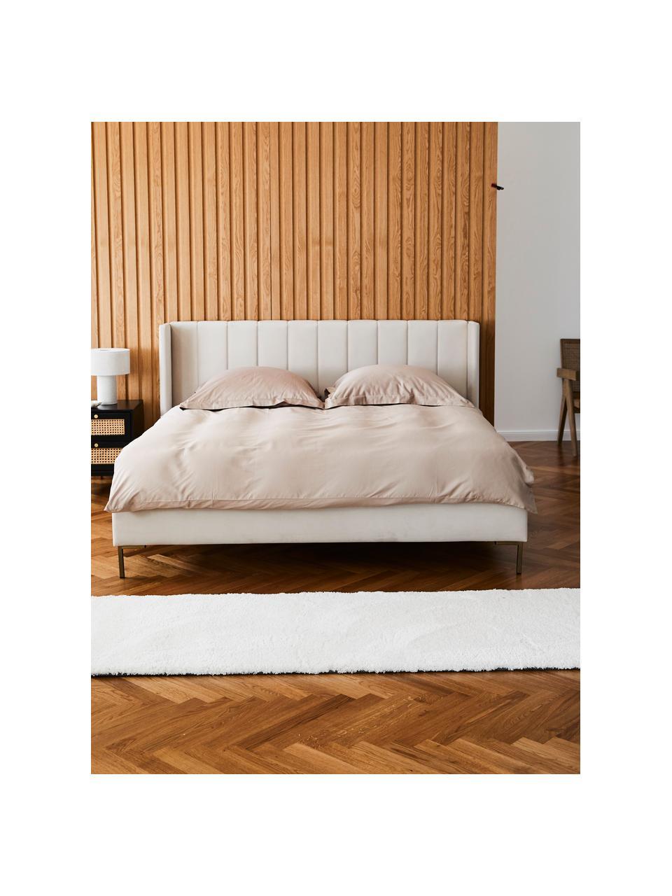 Łóżko tapicerowane z aksamitu Dusk, Korpus: lite drewno sosnowe i pły, Tapicerka: aksamit poliestrowy 290 g, Nogi: metal malowany proszkowo, Beżowy, S 160 x D 200 cm