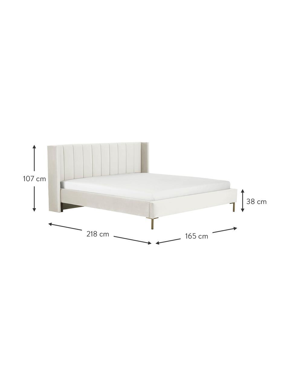 Sametová čalouněná postel s čelem Dusk, Béžová