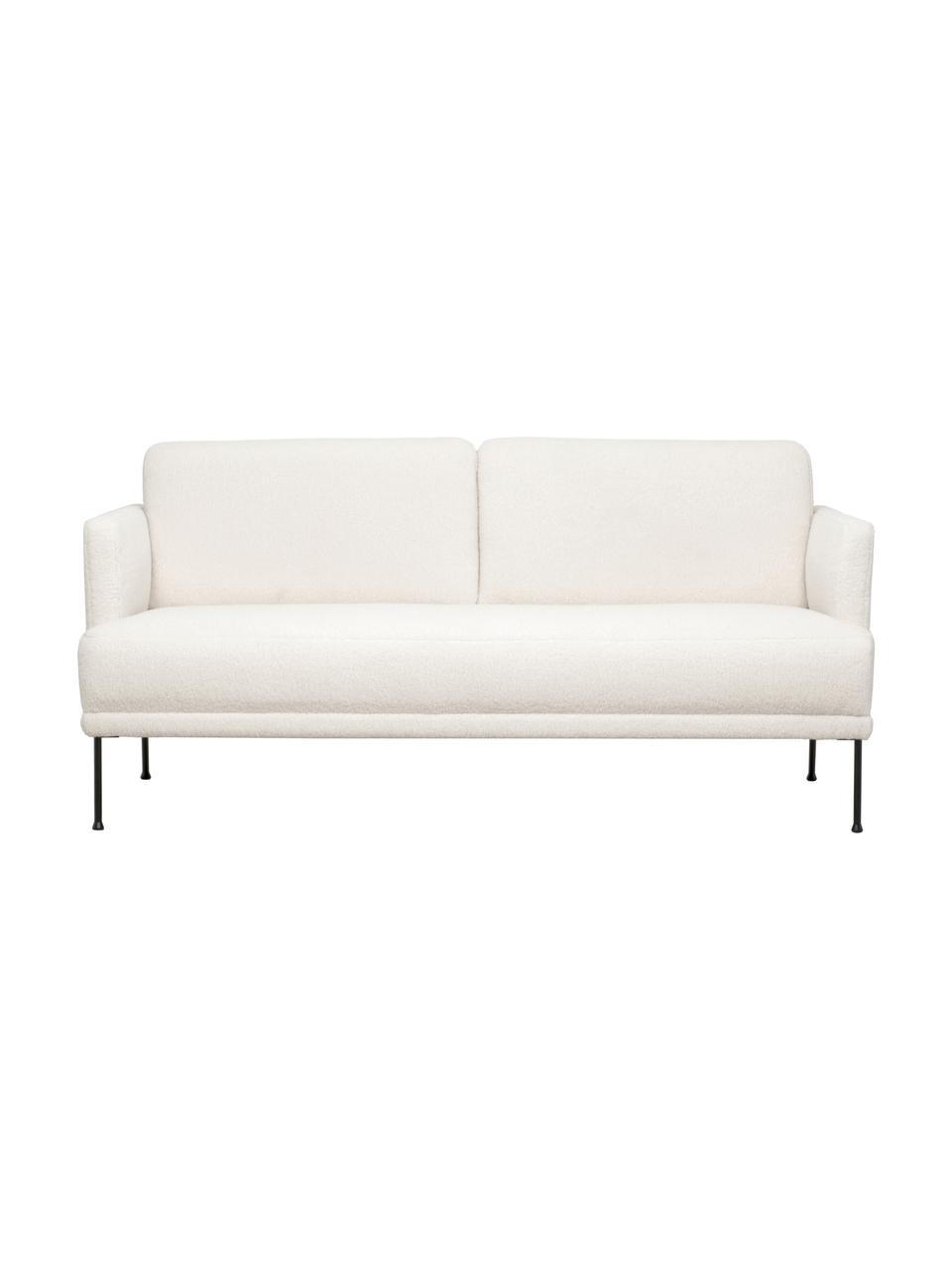 Teddy-Sofa Fluente (2-Sitzer) in Cremeweiß mit Metall-Füßen, Bezug: 100% Polyester (Teddyfell, Gestell: Massives Kiefernholz, Füße: Metall, pulverbeschichtet, Teddy Cremeweiß, B 166 x T 85 cm