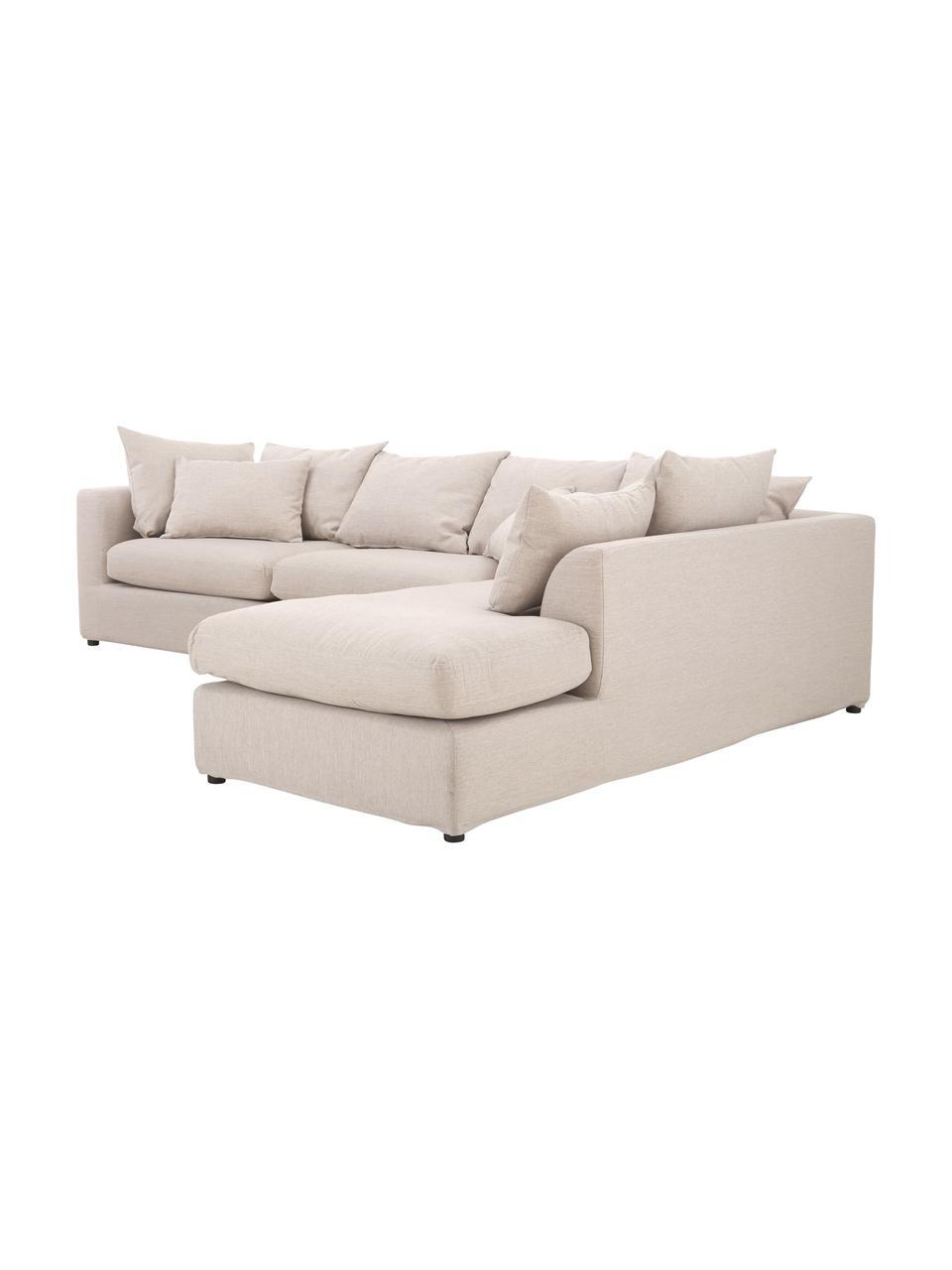 Duża sofa narożna Zach, Tapicerka: polipropylen Dzięki tkani, Nogi: tworzywo sztuczne, Beżowy, S 300 x G 213 cm