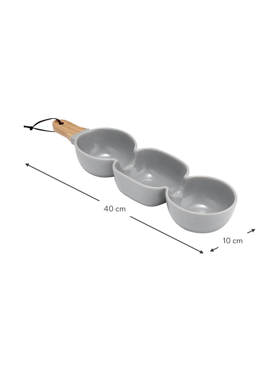 Servierschale Classic in Grau mit Holzgriff, Schale: Porzellan, Griff: Gummibaumholz, Grau, B 40 x T 10 cm