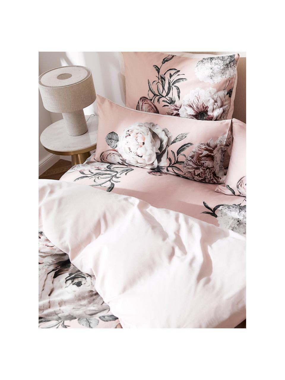 Baumwollsatin-Kissenbezüge Blossom mit Blumen-Print, 2 Stück, Webart: Satin Fadendichte 210 TC,, Mehrfarbig, Rosa, 40 x 80 cm