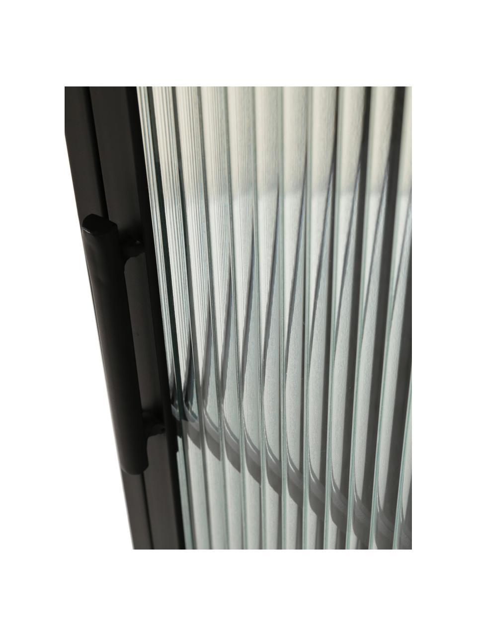 Vitrinenschrank Markus mit Rillenglas und Metallrahmen, schwarz, Gestell: Metall, beschichtet, Schwarz,Transparent, 66 x 112 cm