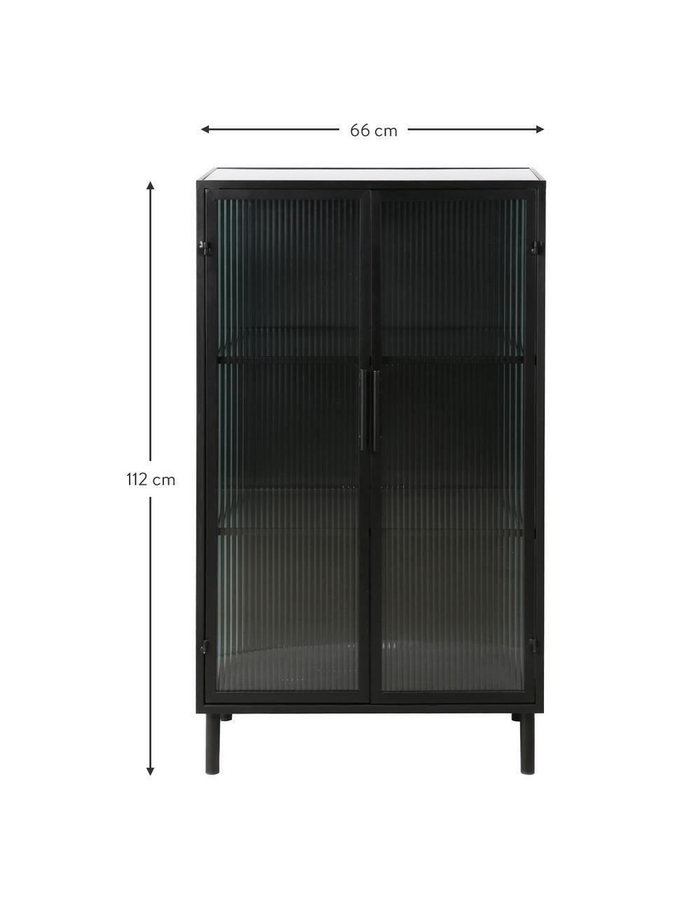 Witryna z metalu Markus, Stelaż: metal powlekany, Czarny, transparentny, S 66 x W 112 cm