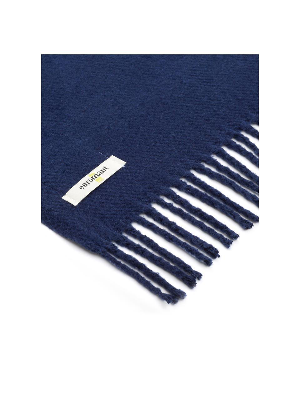 Pled Plain, 50% bawełna, 50% akryl, Ciemnyniebieski, S 140 x D 180 cm