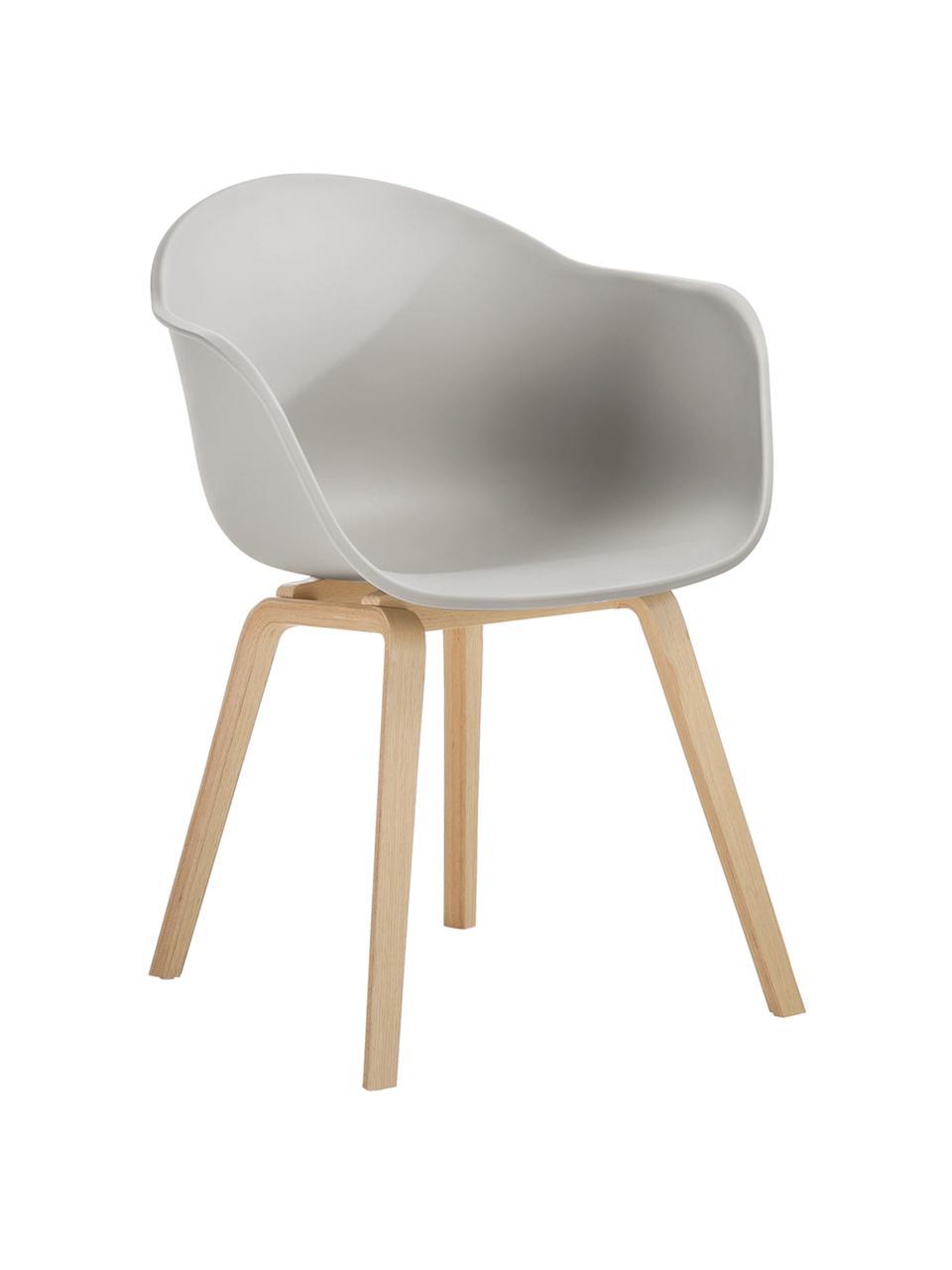 Sedia con braccioli e gambe in legno Claire, Seduta: materiale sintetico, Gambe: legno di faggio, Seduta: grigio beige Gambe: legno di faggio, Larg. 60 x Alt. 54 cm