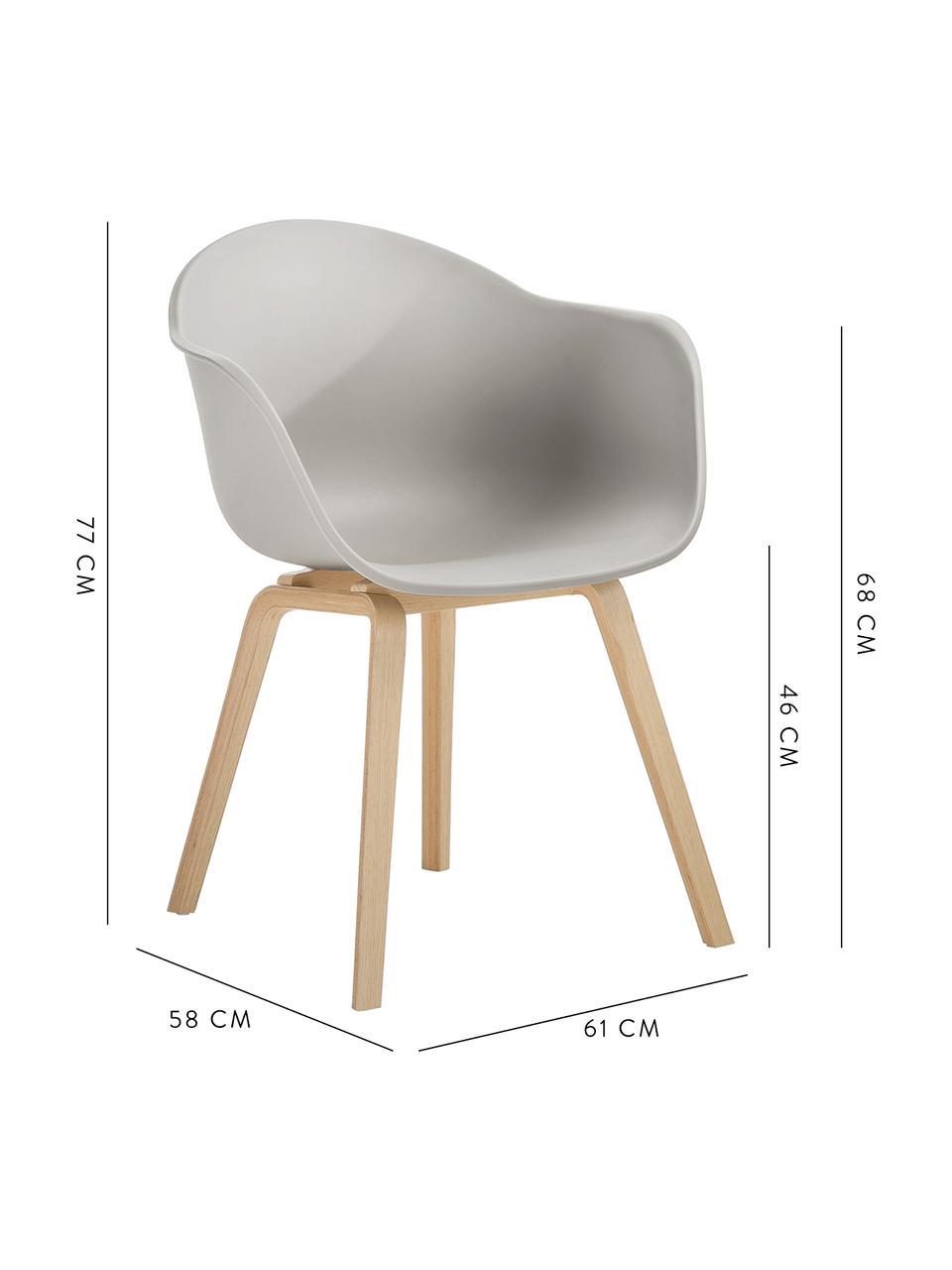 Krzesło z podłokietnikami z tworzywa sztucznego Claire, Nogi: drewno bukowe, Siedzisko: beżowoszary Nogi: drewno bukowe, S 60 x G 54 cm