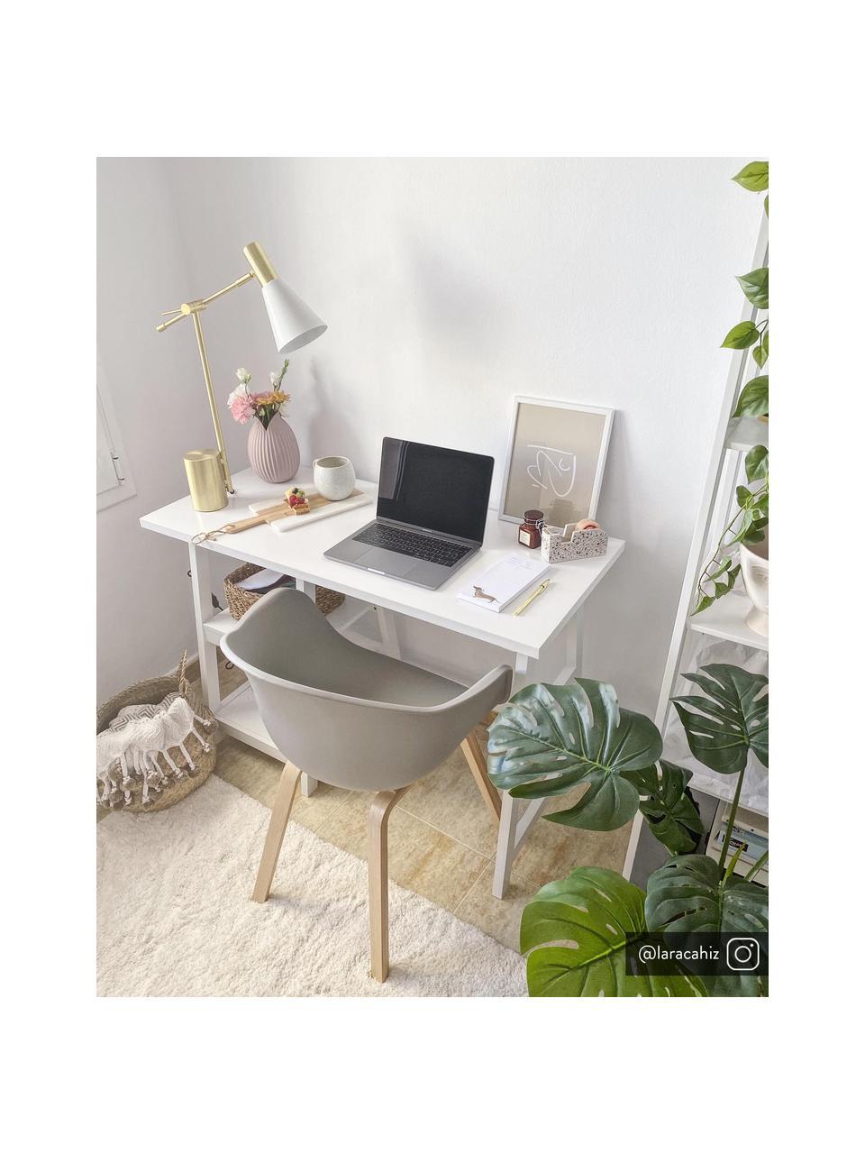 Krzesło z podłokietnikami z tworzywa sztucznego Claire, Nogi: drewno bukowe, Beżowoszary, S 60 x G 54 cm