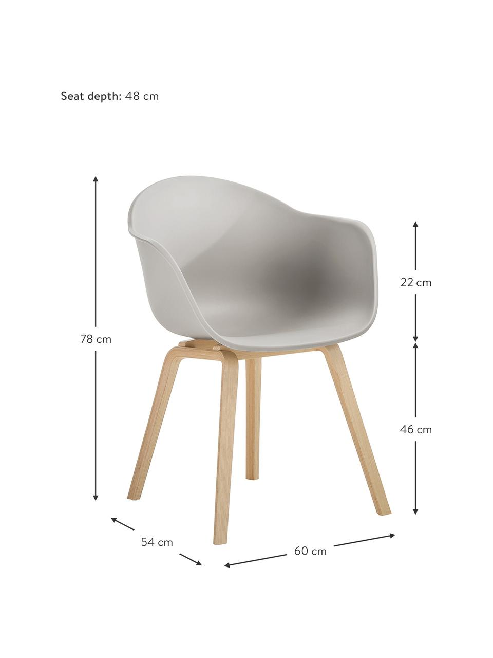 Kunststoff-Armlehnstuhl Claire mit Holzbeinen, Sitzschale: Kunststoff, Beine: Buchenholz, Beigegrau, B 60 x T 54 cm