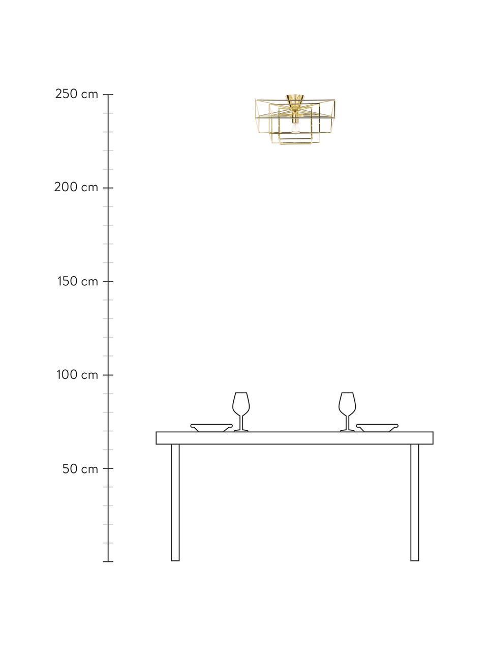 Plafondlamp Cube in goudkleur, Baldakijn: gelakt messing, Goudkleurig, 46 x 27 cm