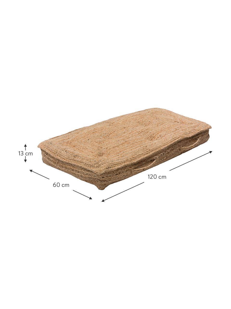Grosses Jute-Bodenkissen Ural, Vorderseite: Jute, Beige, 60 x 120 cm