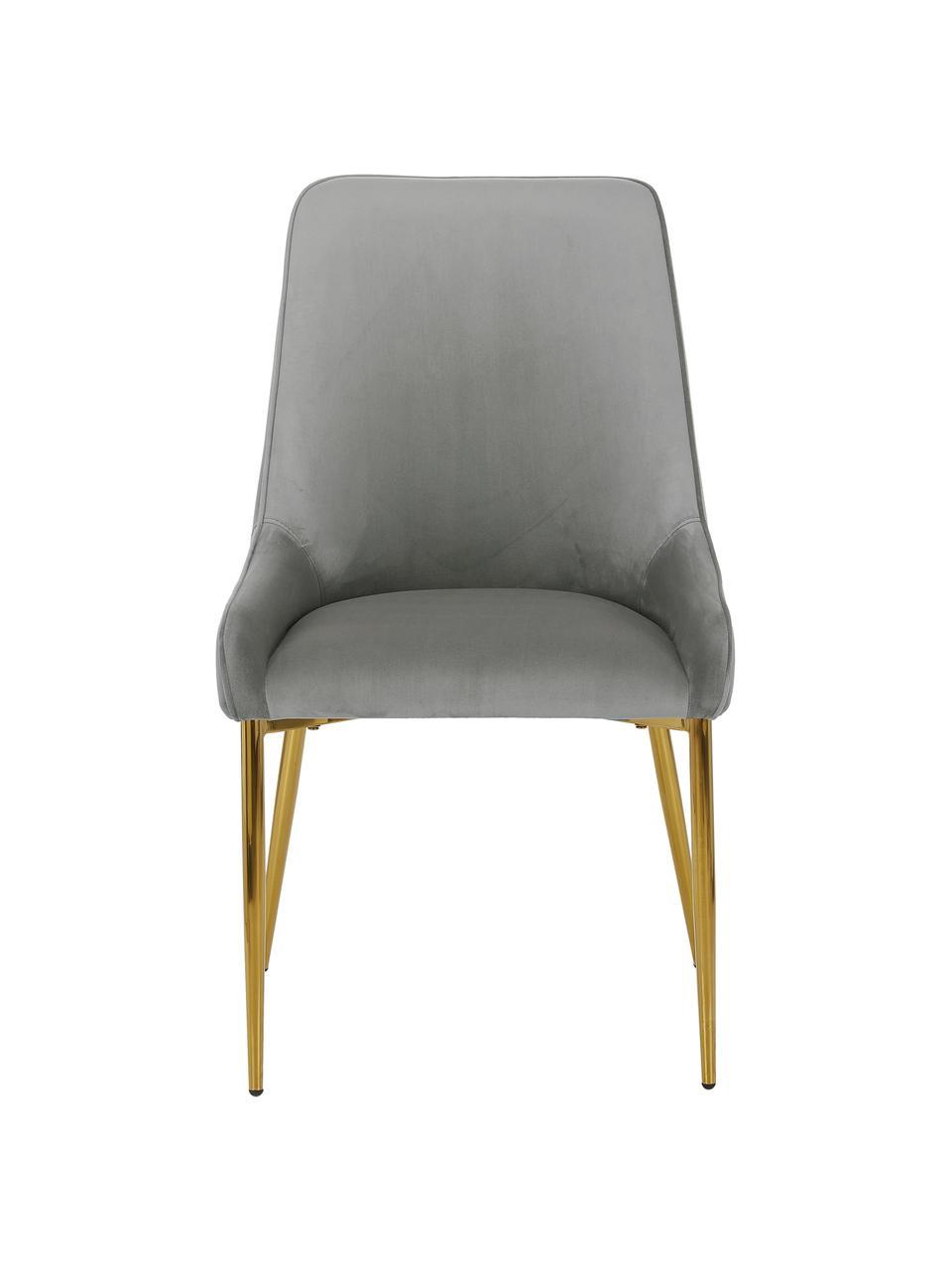 Fluwelen stoel Ava met goudkleurige poten, Bekleding: fluweel (100% polyester), Poten: gegalvaniseerd metaal, Fluweel grijs, B 55 x D 60 cm