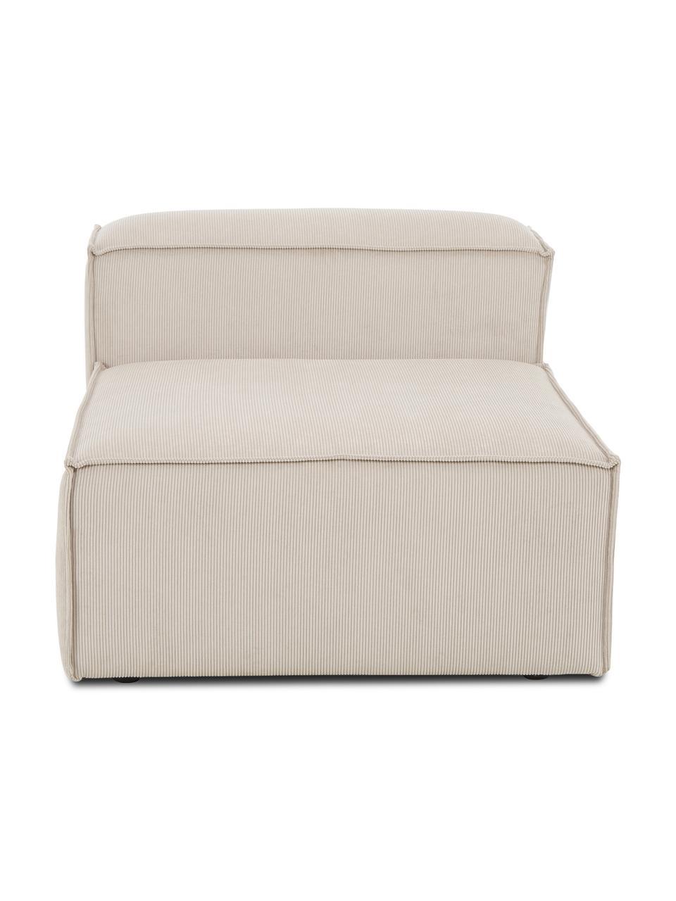 Módulo central de pana sofá Lennon, Tapizado: pana (92%poliéster, 8%p, Estructura: madera de pino maciza, ma, Patas: plástico Las patas están , Pana beige, An 89 x F 119 cm
