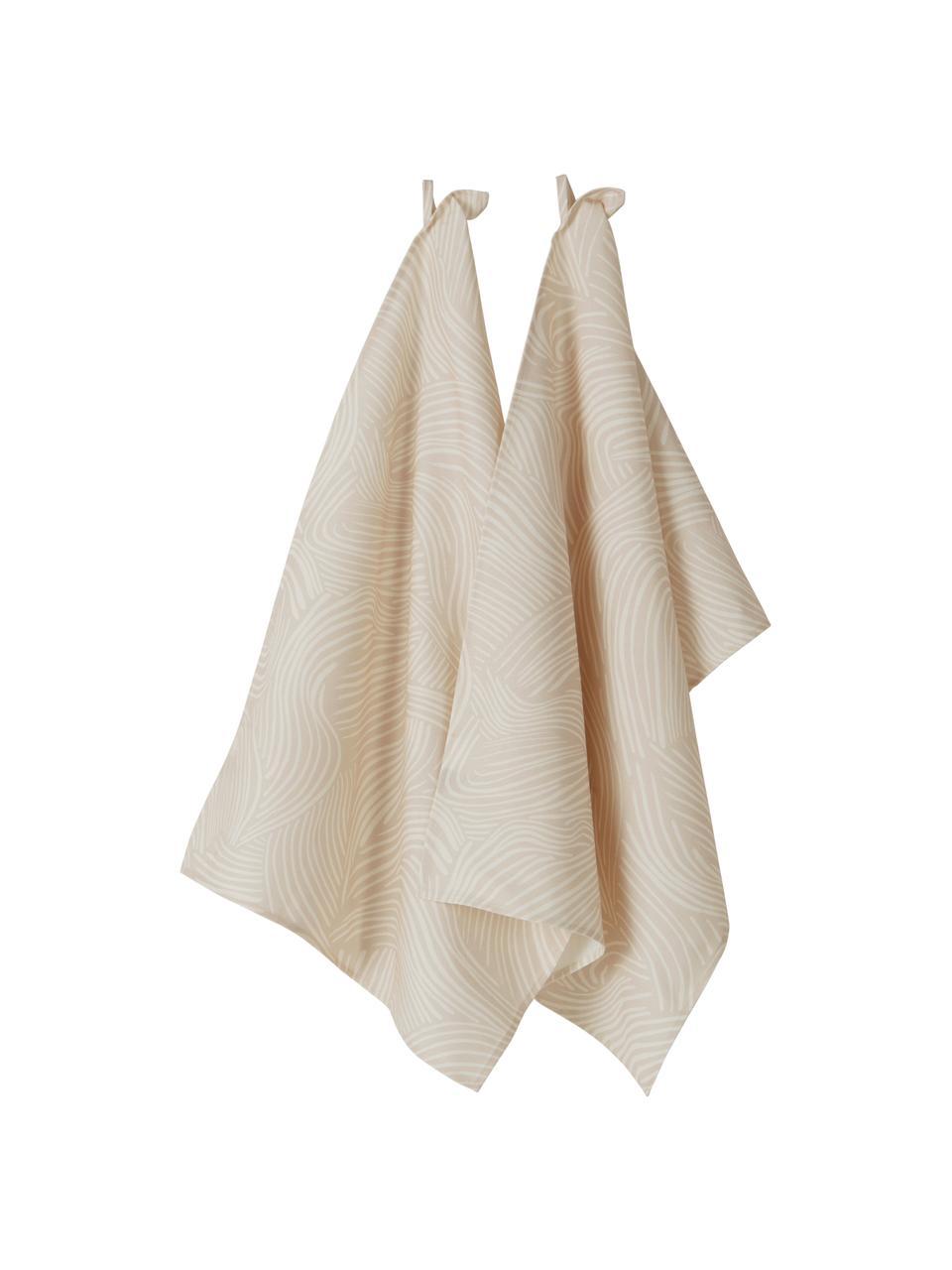 Baumwoll-Geschirrtücher Vida in Beige mit feinen Linien, 2 Stück, 100% Baumwolle, Beige, 50 x 70 cm