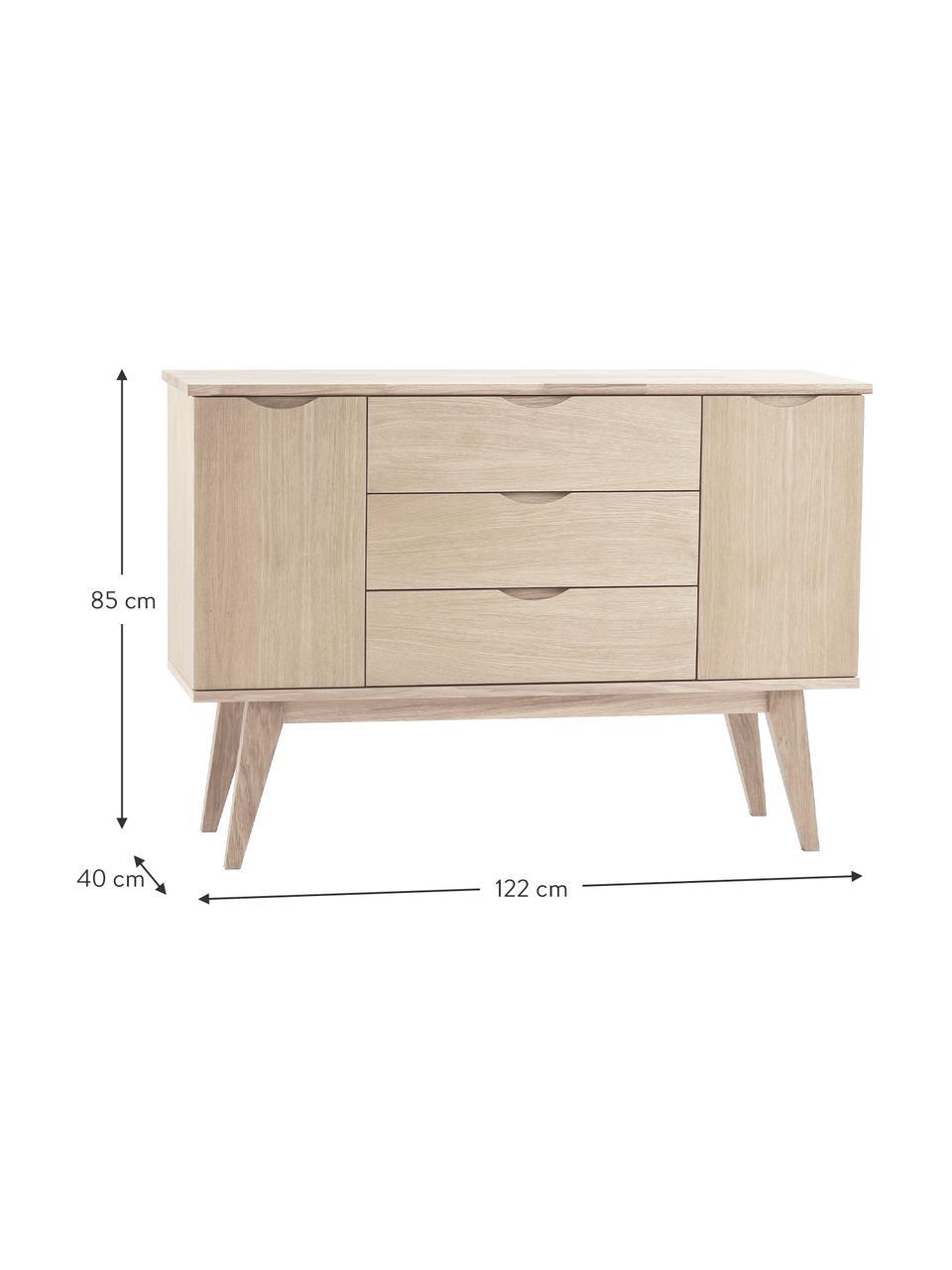 Sideboard Filippa mit Schubladen aus Eichenholz, Beine: Eichenholz, massiv, weiß , Eichenholz, weiß gewaschen, 122 x 85 cm