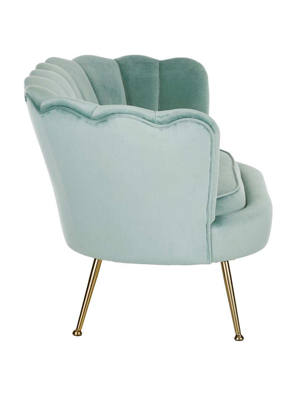 Sofa z aksamitu z metalowymi nogami Oyster (2-osobowa), Tapicerka: aksamit (poliester) 20 00, Nogi: metal galwanizowany, Aksamitny turkusowy, S 131 x G 78 cm