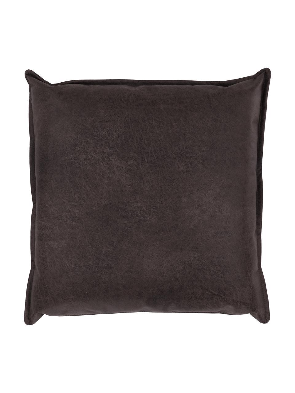 Cuscino arredo in pelle marrone-grigio Lennon, Marrone, grigio, Larg. 60 x Lung. 60 cm