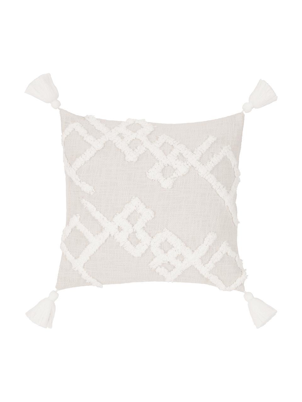 Kissenhülle Tikki mit getufteter Verzierung, 100% Baumwolle, Beige, 40 x 40 cm