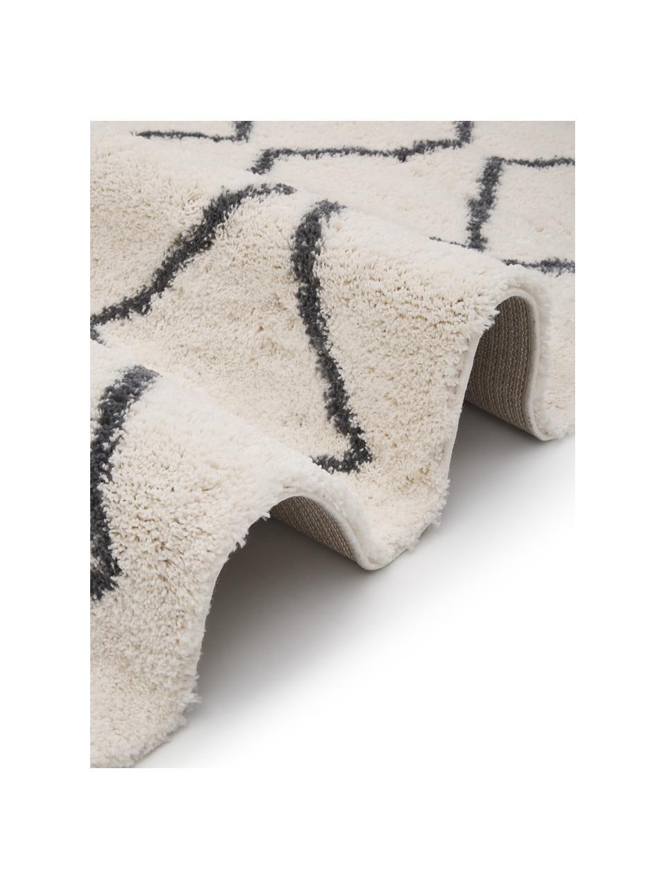 Passatoia a pelo lungo bianco crema/grigio scuro Velma, Retro: 78% juta, 14% cotone, 8% , Bianco crema, grigio scuro, Larg. 80 x Lung. 250 cm