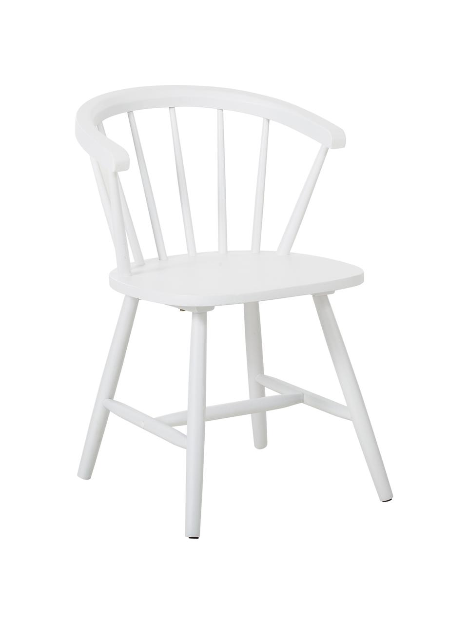 Krzesło z podłokietnikami z drewna w stylu windsor Megan, 2 szt., Drewno kauczukowe, lakierowane, Biały, S 53 x G 52 cm