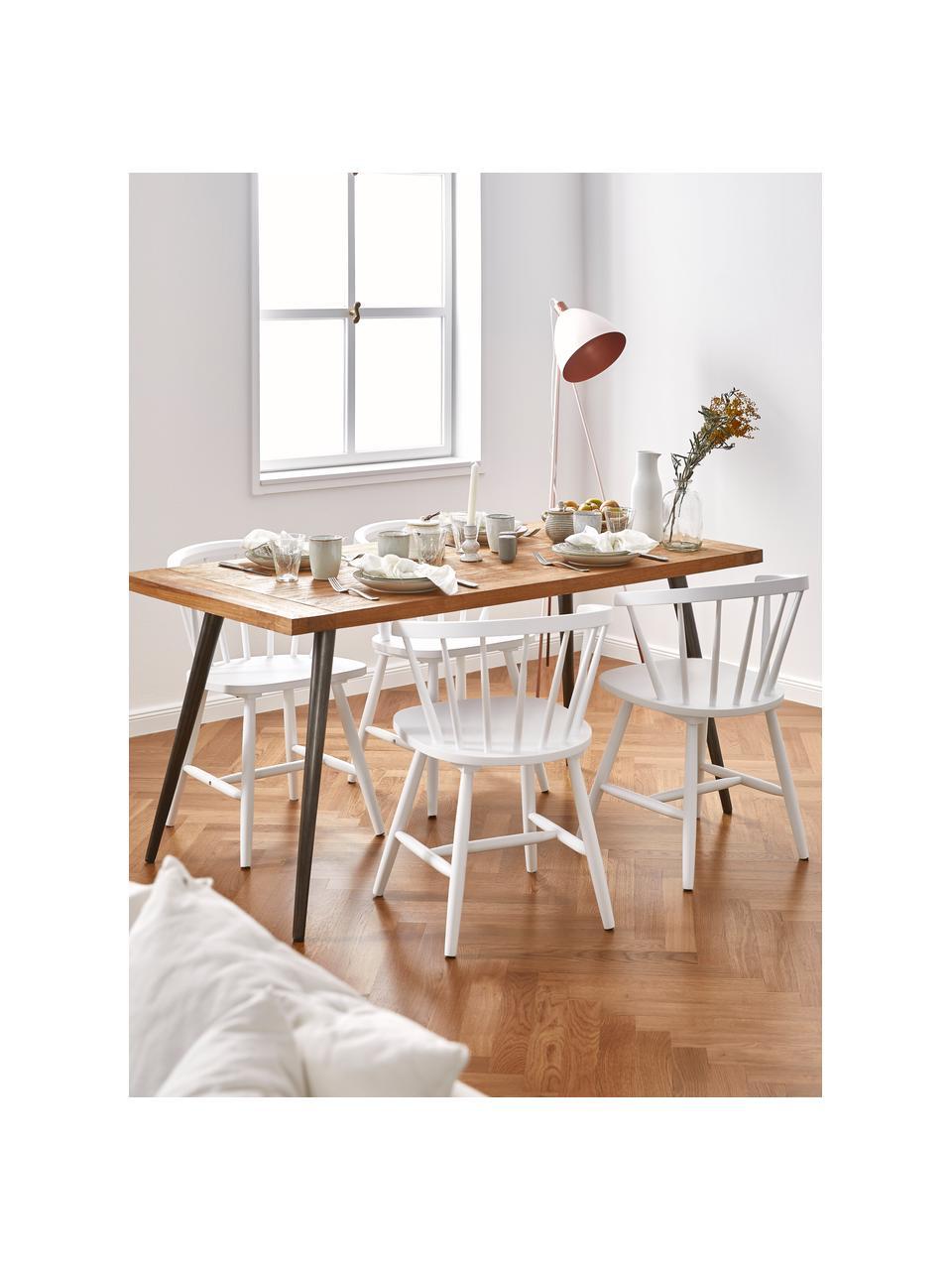 Windsor-Armlehnstühle Megan aus Holz, 2 Stück, Kautschukholz, lackiert, Weiß, B 53 x T 52 cm