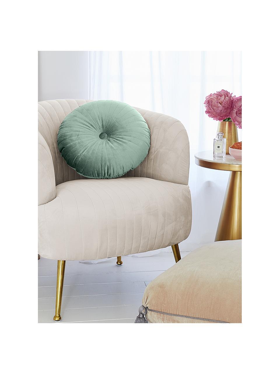 Poduszka okrągła z aksamitu z wkładem Monet, Tapicerka: 100% aksamit poliestrowy, Miętowy, Ø 40 cm