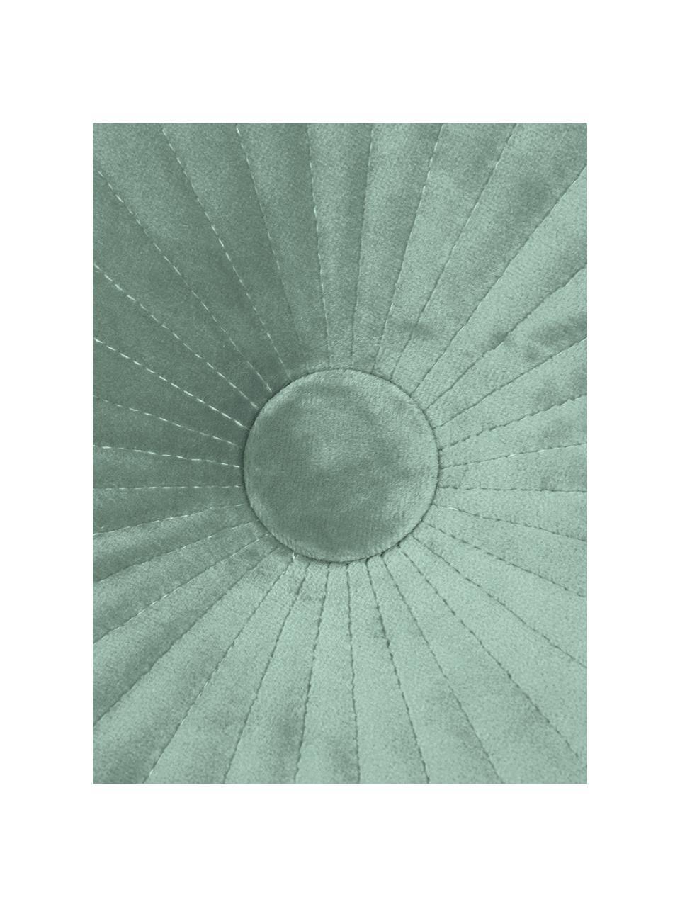 Cojín redondo de terciopelo brillante Monet, con relleno, Tapizado: 100%terciopelo de poliés, Verde menta, Ø 40 cm