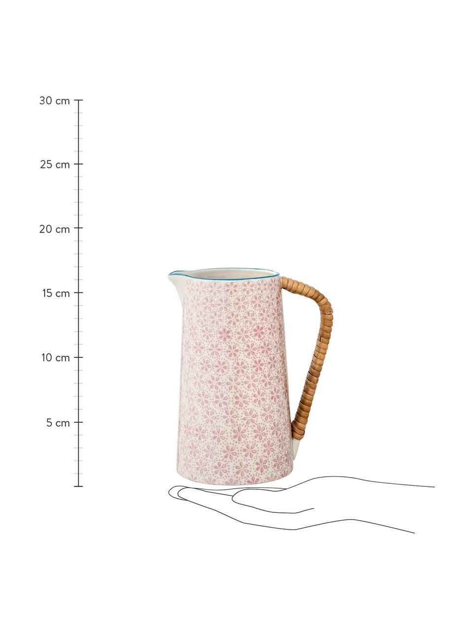 Brocca acqua in gres dipinta a mano Patrizia, 800 ml, Brocca: gres, Manico: bambù, Rosa, 800 ml