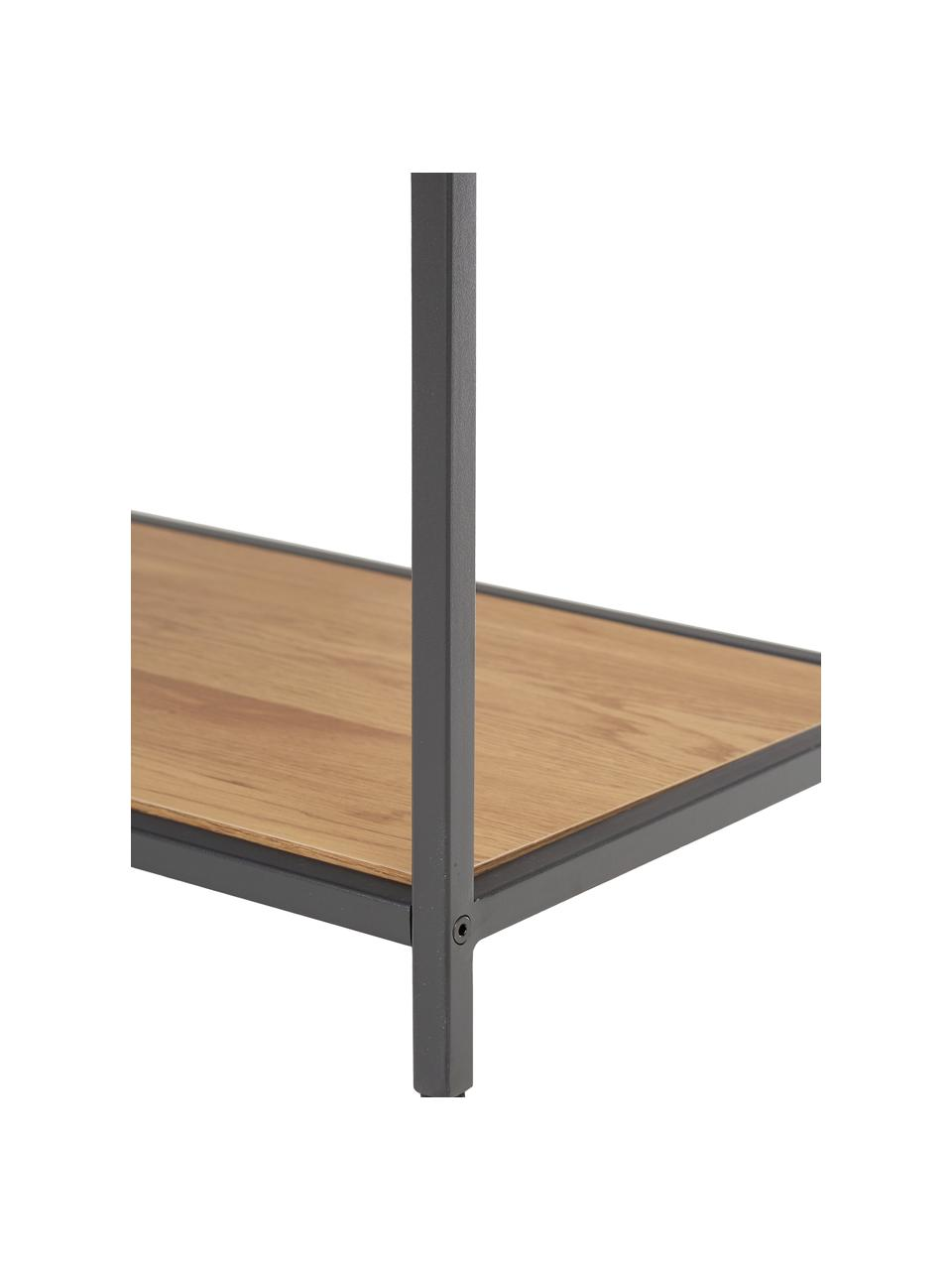 Libreria in legno e metallo Seaford, Ripiani: pannello di fibra a media, Struttura: metallo verniciato a polv, Nero, quercia selvatica, Larg. 77 x Alt. 185 cm