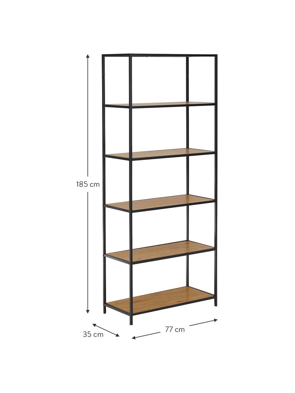 Wysoki regał z drewna i metalu Seaford, Stelaż: metal lakierowany proszko, Półki: dzikie drewno dębowe Stelaż: czarny, S 77 x W 185 cm