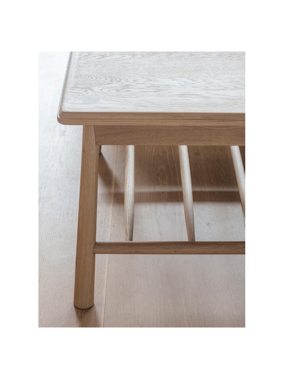 Tavolino da salotto in legno di quercia  Wycombe, Massiccio legno di quercia, pannelli di fibra a media densità (MDF) con rivestimento in legno di quercia, Legno di quercia, Larg. 120 x Alt. 43 cm