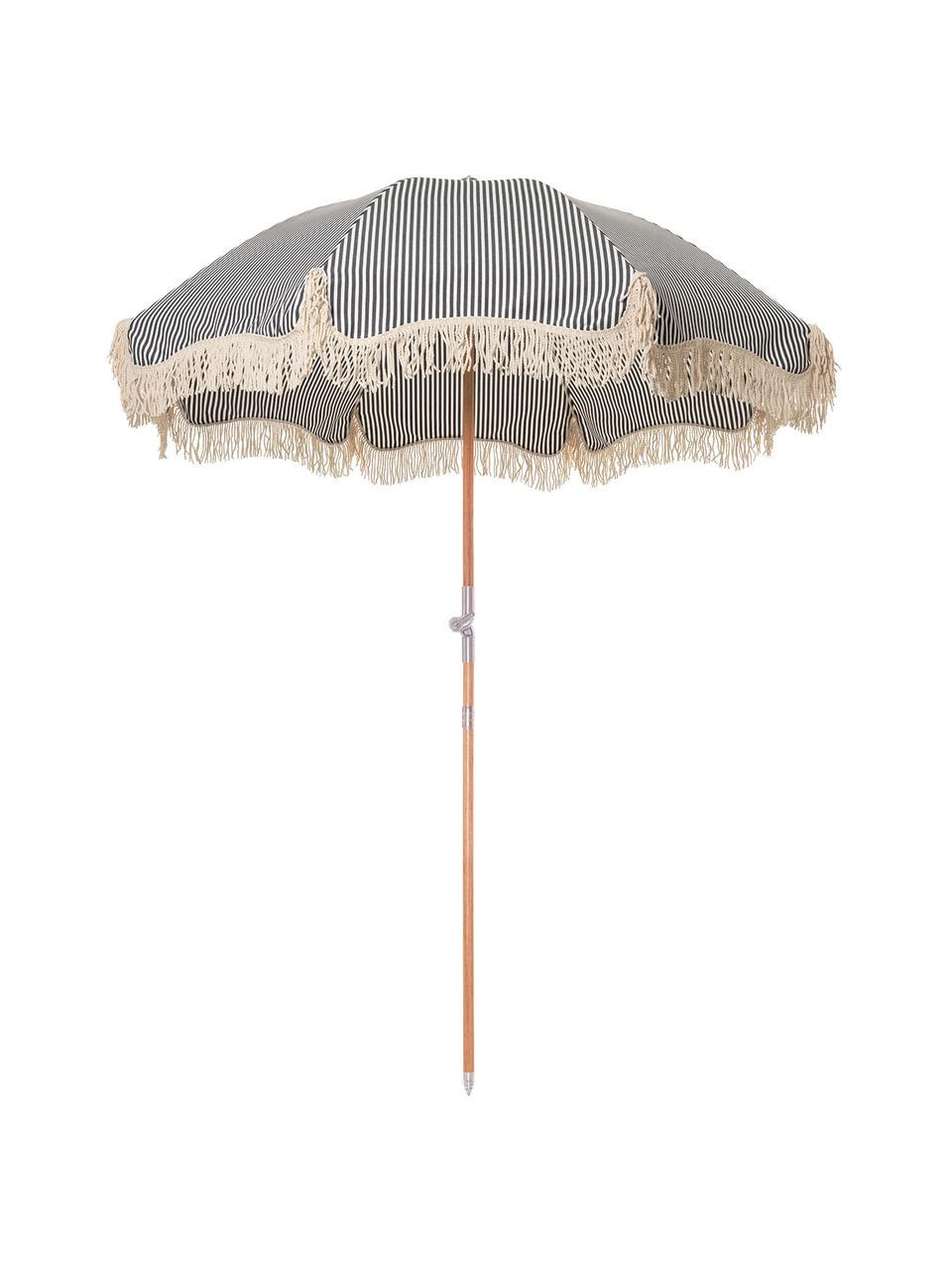 Gestreifter Sonnenschirm Retro mit Fransen in Blau-Weiß, abknickbar, Gestell: Holz, laminiert, Fransen: Baumwolle, Dunkelblau, Gebrochenes Weiß, Ø 180 x H 230 cm