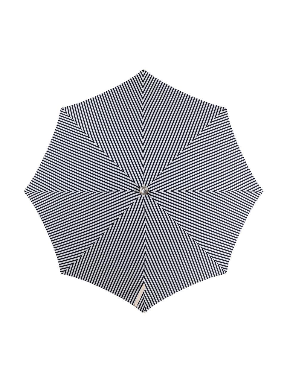 Parasol ogrodowy z frędzlami Retro, Stelaż: drewno naturalne, laminow, Ciemnyniebieski, złamana biel, Ø 180 x W 230 cm
