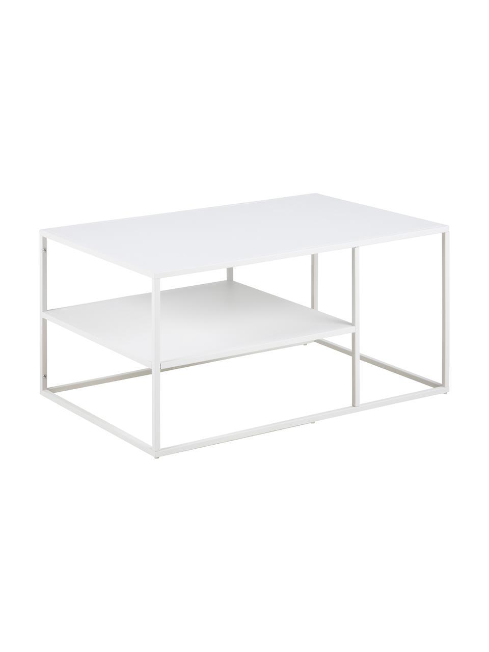 Tavolino da salotto in metallo bianco Neptun, Metallo verniciato a polvere, Bianco, Larg. 90 x Alt. 45 cm