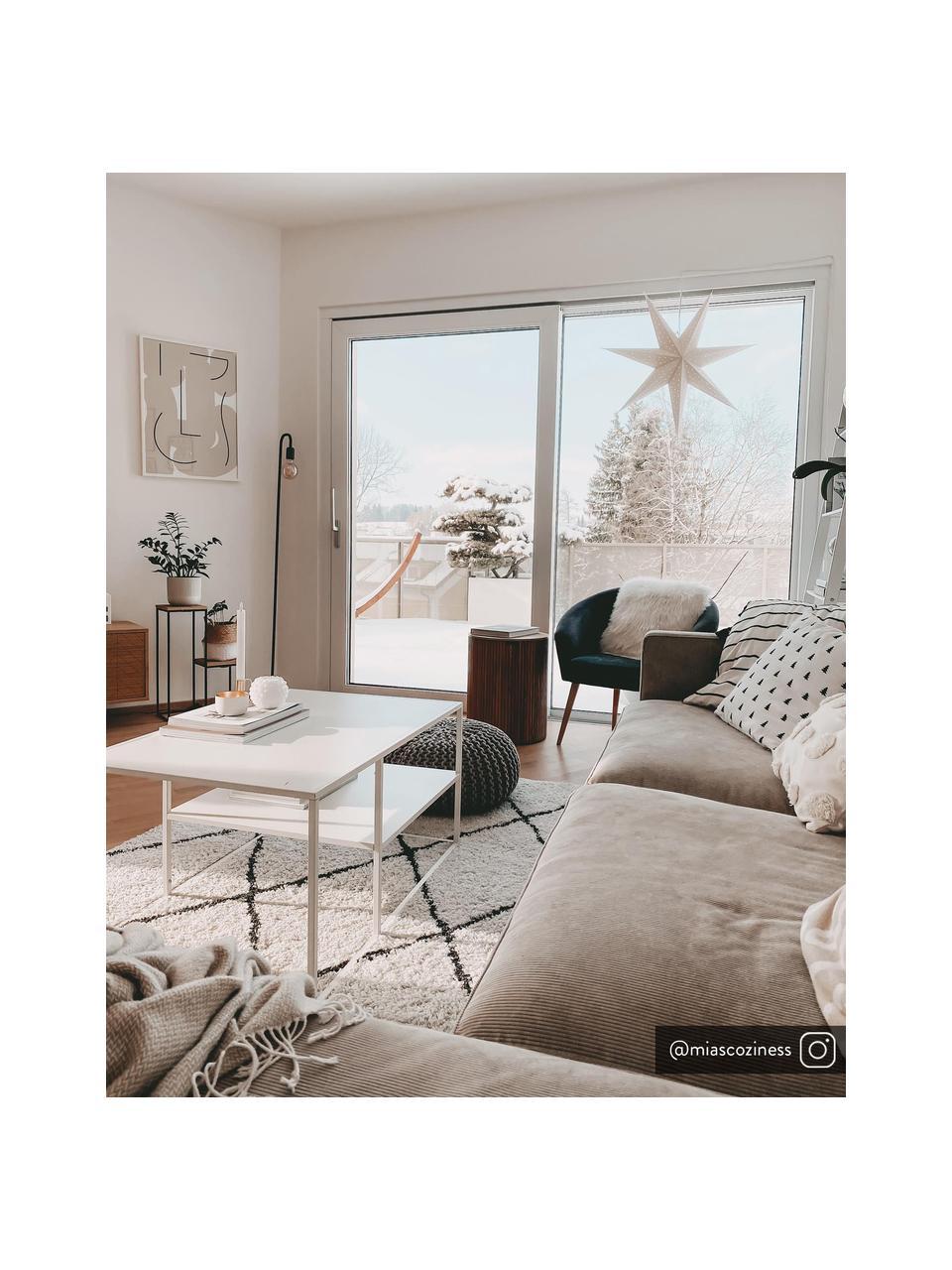 Metalen salontafel Newton in wit, Gepoedercoat metaal, Wit, 90 x 45 cm
