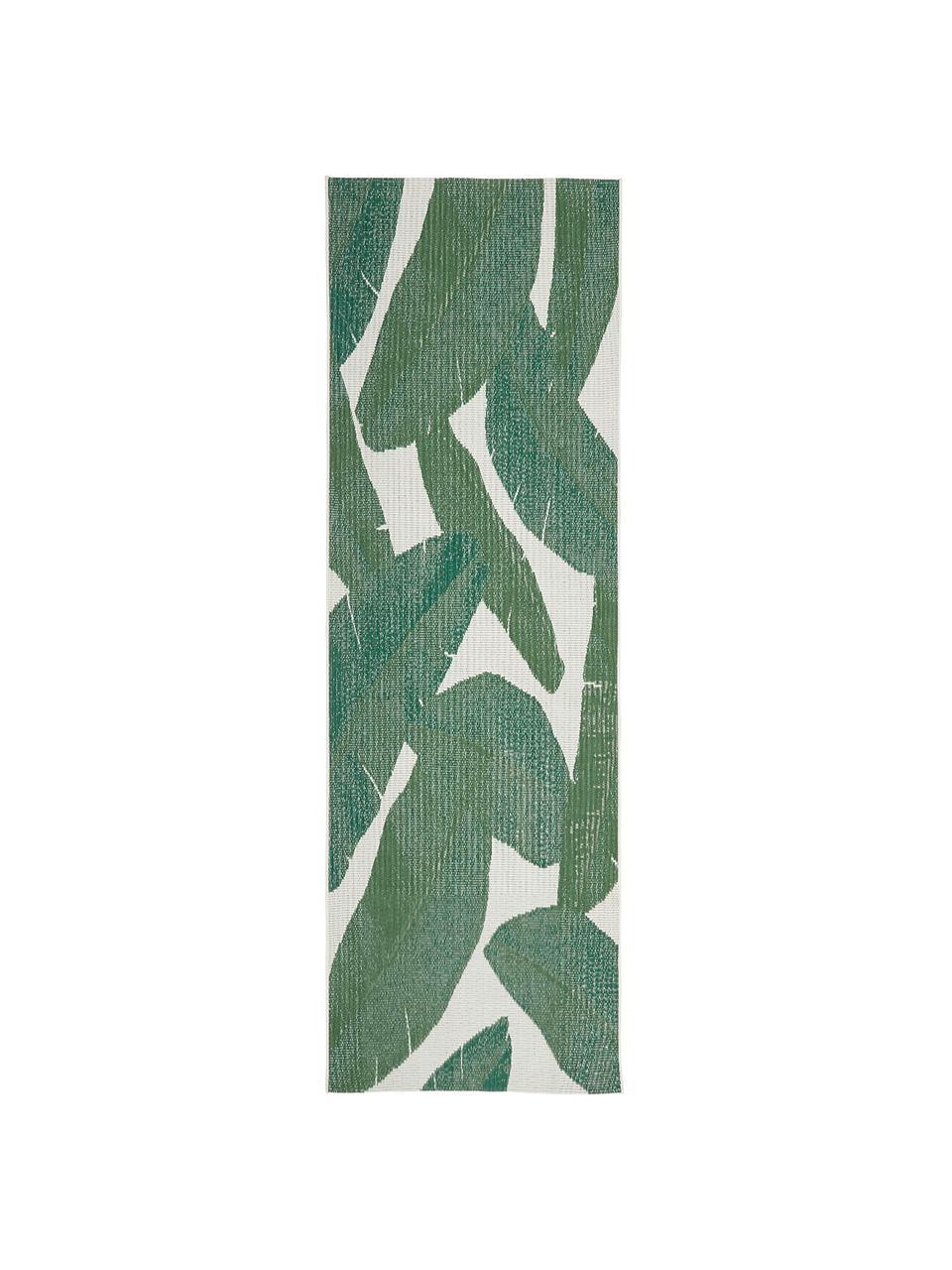 Passatoia da interno-esterno con motivo foglie Jungle, 86% polipropilene, 14% poliestere, Bianco crema, verde, Larg. 80 x Lung. 250 cm