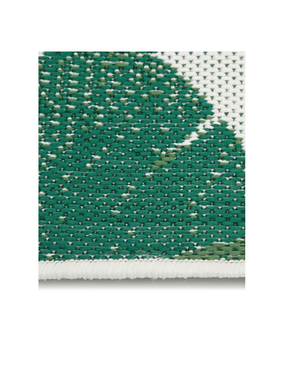 Chodnik wewnętrzny/zewnętrzny Jungle, 86% polipropylen, 14% poliester, Kremowobiały, zielony, S 80 x D 250 cm